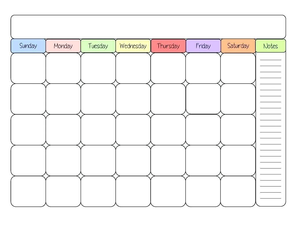 Printable Calendar Kid Friendly   Printable Calendar 2019 For Blank Calendar Template For Kids