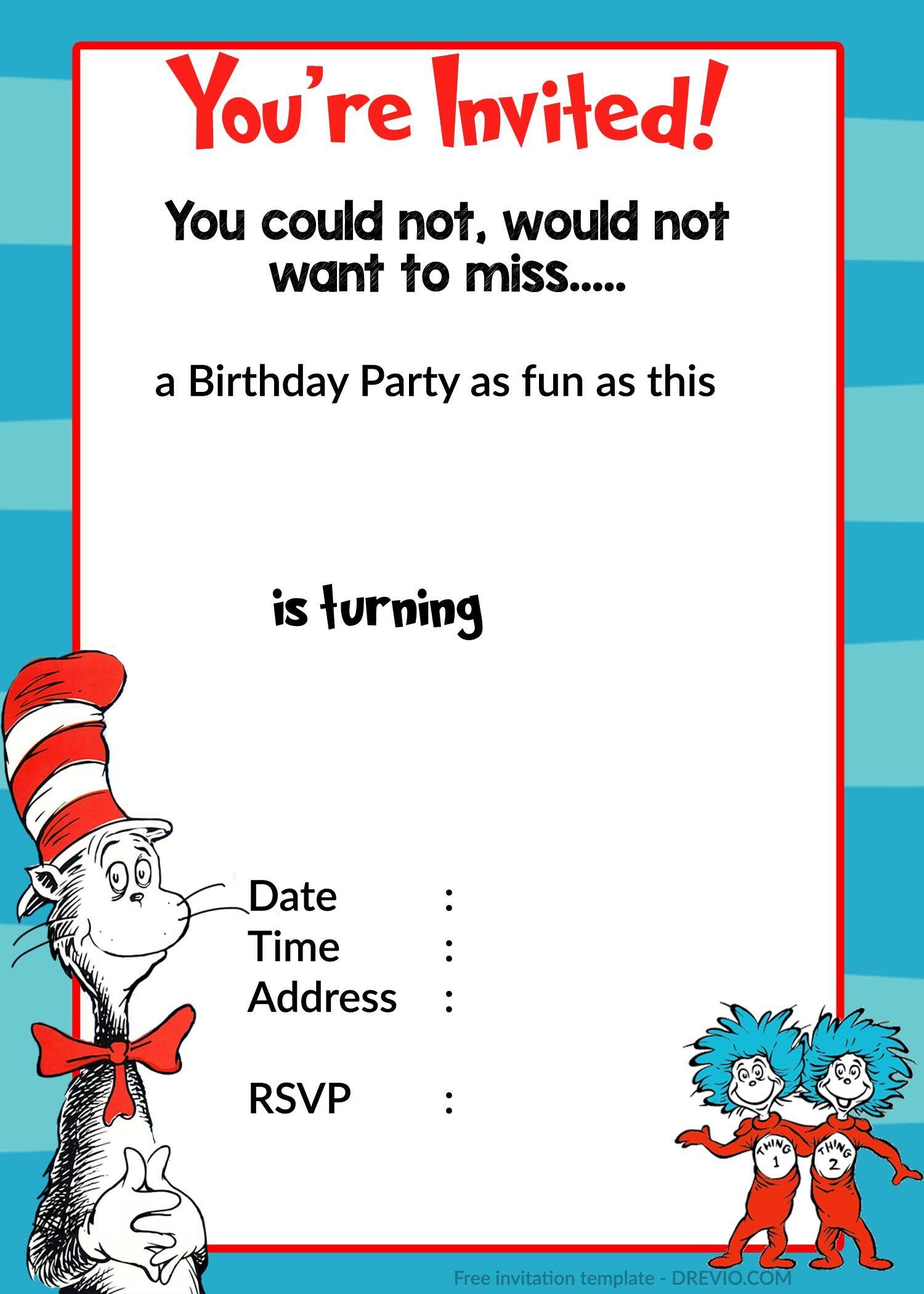 Printable Dr. Seuss Birthday Invitation | Birthday Pertaining To Dr Seuss Birthday Card Template