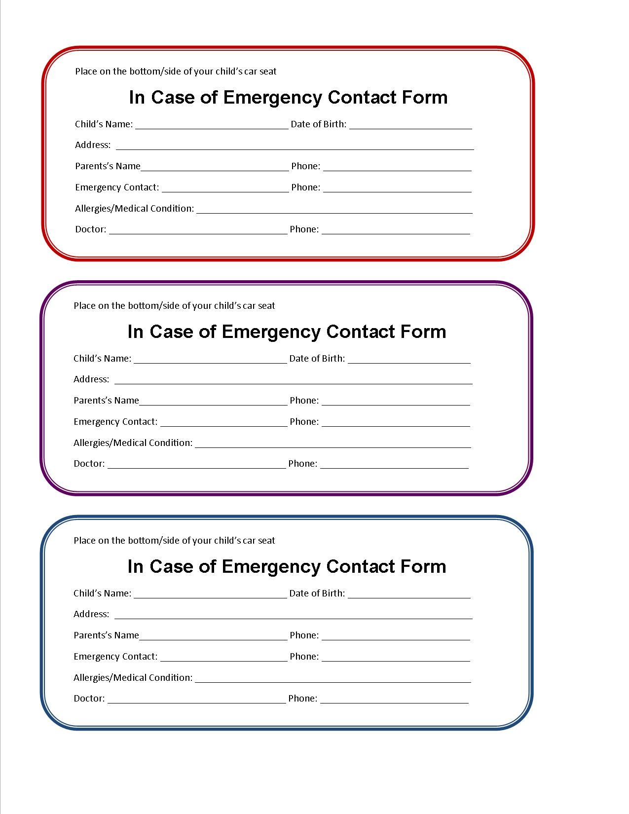Printable Emergency Contact Form For Car Seat | Super Mom I Inside Emergency Contact Card Template