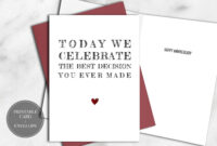 Printable Funny Anniversary Card For Him Instant Download Within Decision Card Template