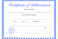 Printable Hard Work Certificates Kids | Printable with Blank Certificate Of Achievement Template