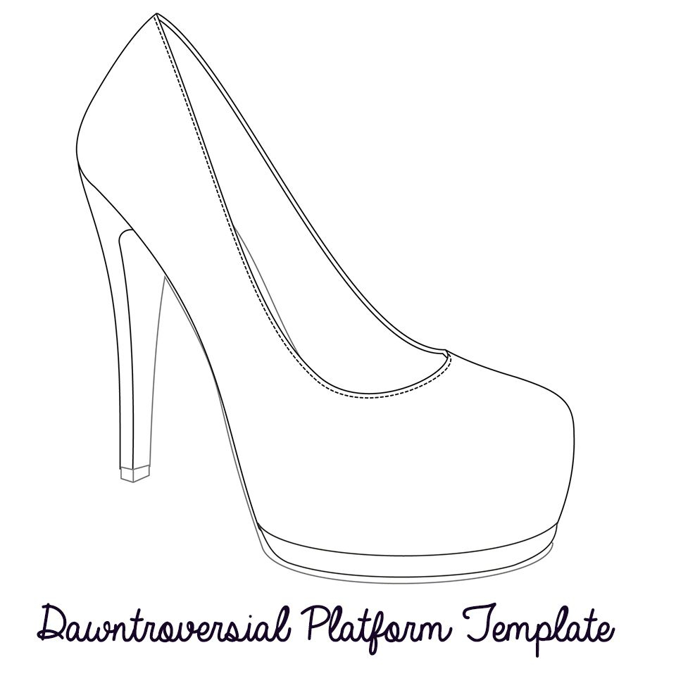 Printable High Heel Stencil Best Photos Of <B>High Heel Pertaining To High Heel Template For Cards