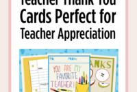Printable Teacher Thank You Cards For Teacher Appreciation for Thank You Card For Teacher Template