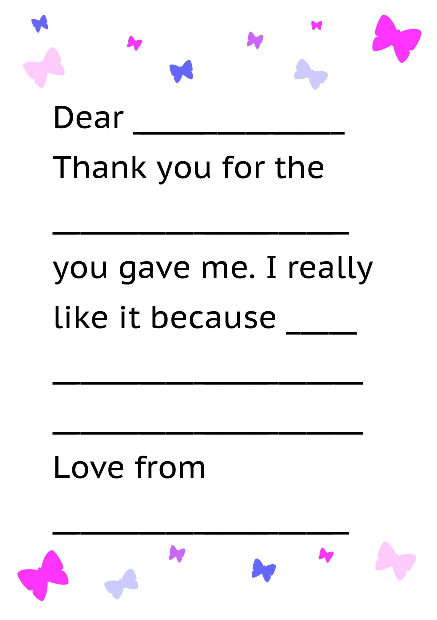 Printable Thank You Card Template For Kids | Kids Thank Yous In Thank You Note Cards Template