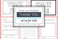 Printable Thank You Cards For Kids – The Kitchen Table Classroom intended for Thank You Card For Teacher Template