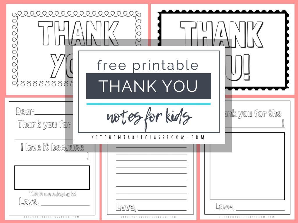 Printable Thank You Cards For Kids - The Kitchen Table Classroom Throughout Free Printable Thank You Card Template