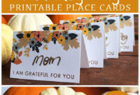 Printable Thanksgiving Place Card | Thanksgiving Place Cards With Regard To Thanksgiving Place Card Templates