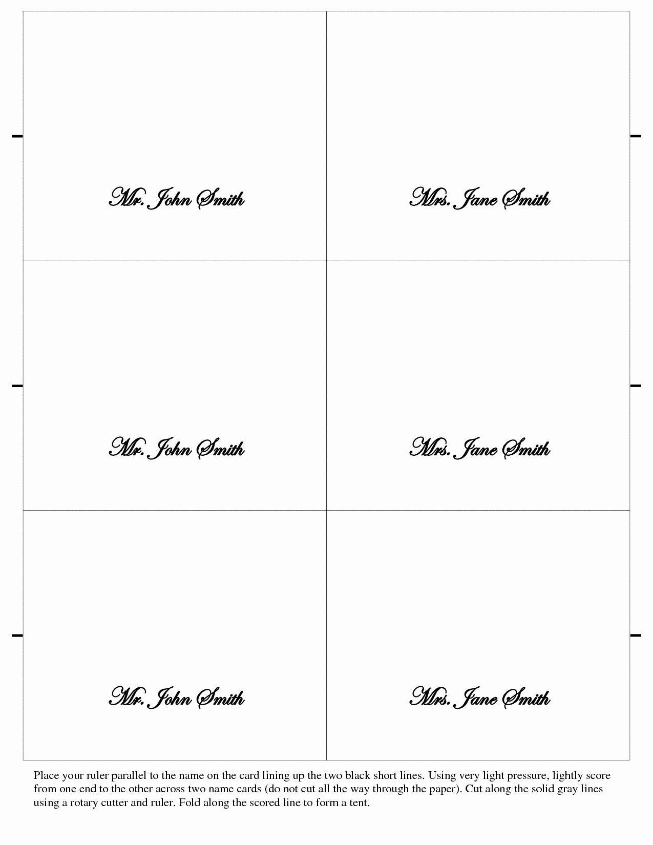 Printable Wedding Place Cards Template Of 7 Best Of Free Regarding Table Place Card Template Free Download