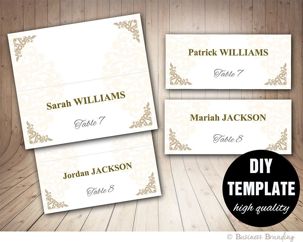 Printable Wedding Placecard Template 3.5X2 Foldover, Diy With Fold Over Place Card Template