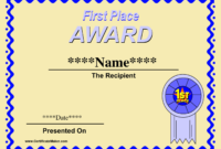 Printable Winner Certificate Templates | Certificate For First Place Award Certificate Template