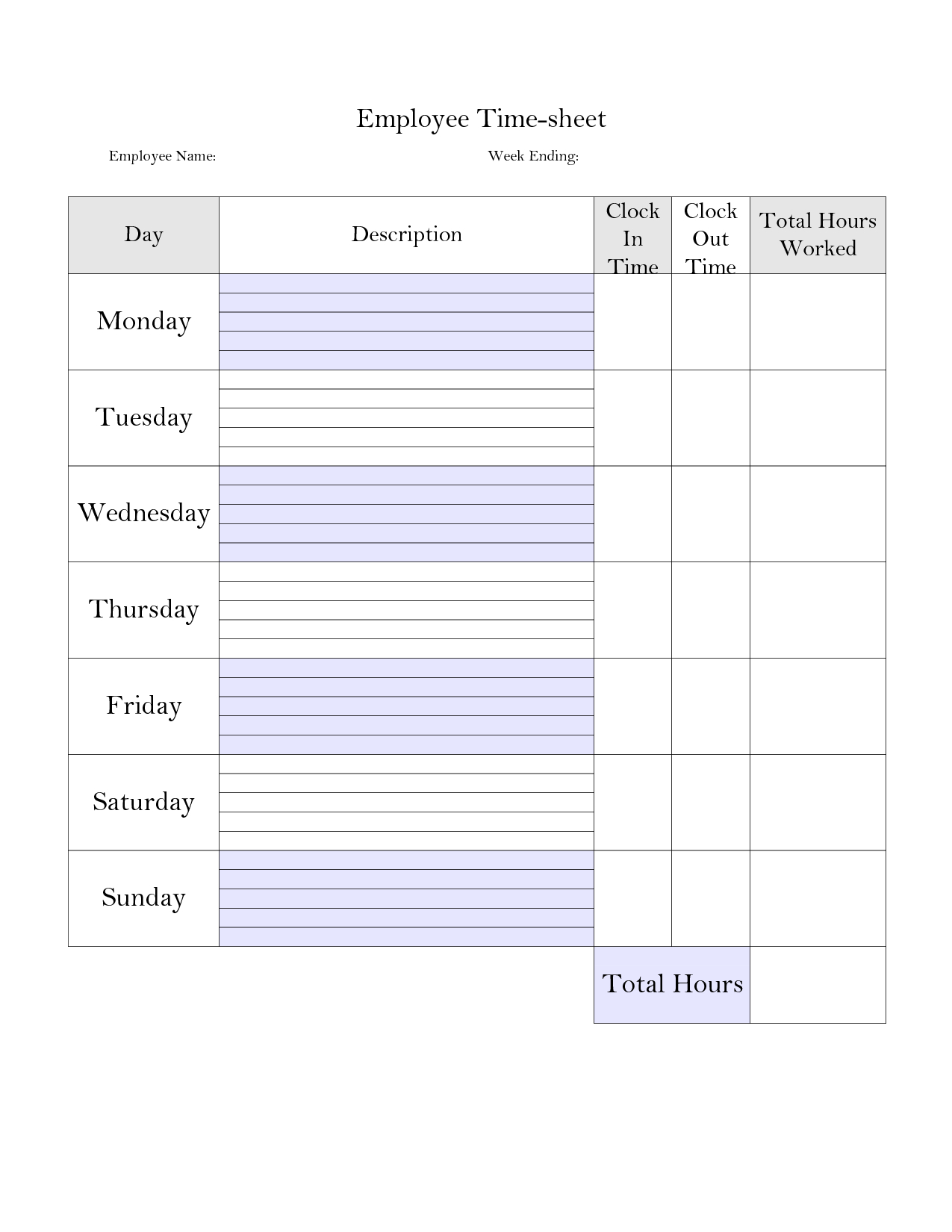 Printable+Weekly+Time+Card+Template | Time Sheet Printable Pertaining To Weekly Time Card Template Free