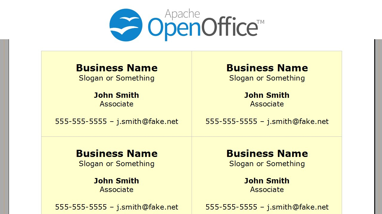 Printing Business Cards In Openoffice Writer Inside Openoffice Business Card Template