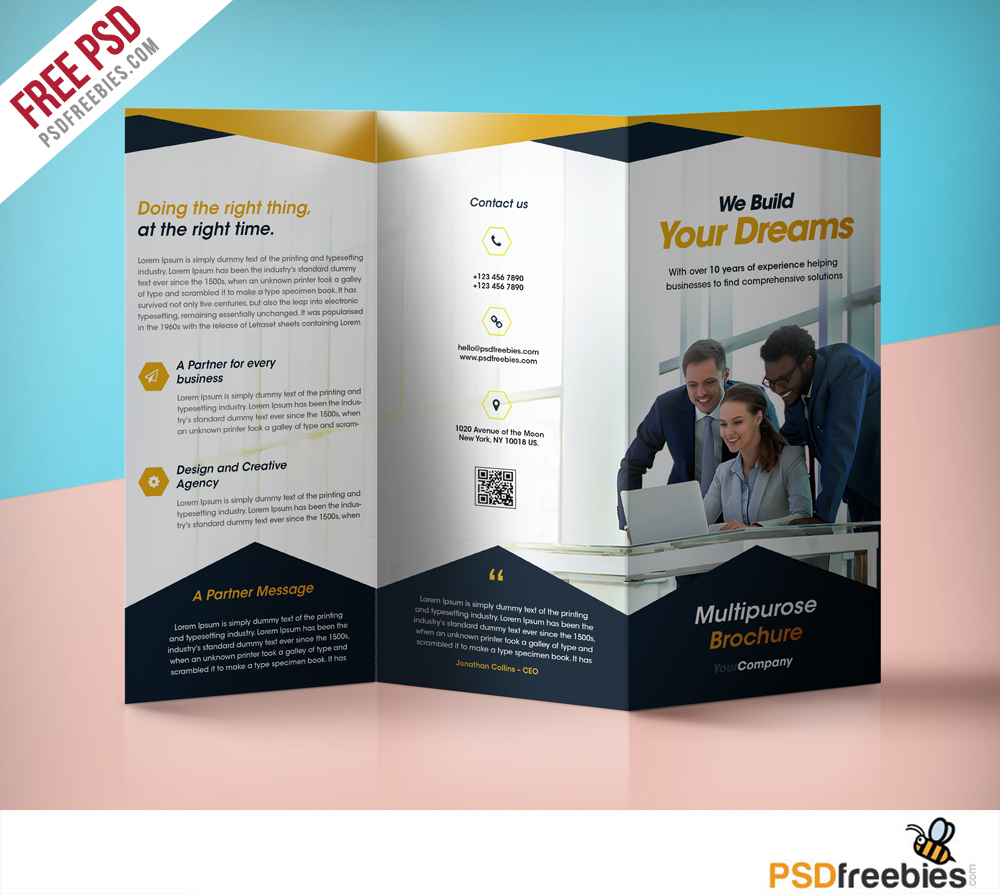 Professional Corporate Tri Fold Brochure Free Psd Template With Regard To Brochure Psd Template 3 Fold