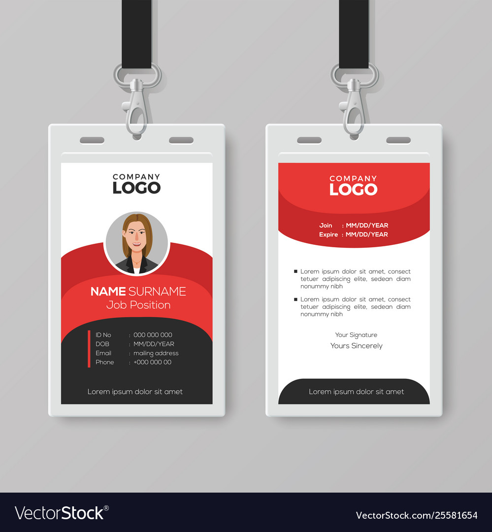Professional Employee Id Card Template For Work Id Card Template