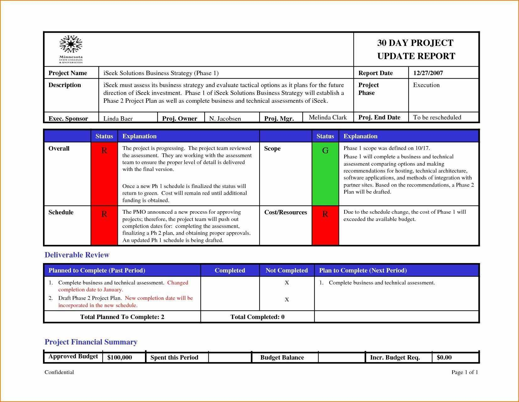 Project Management Report Template Status Ideas Team Excel In Project Manager Status Report Template