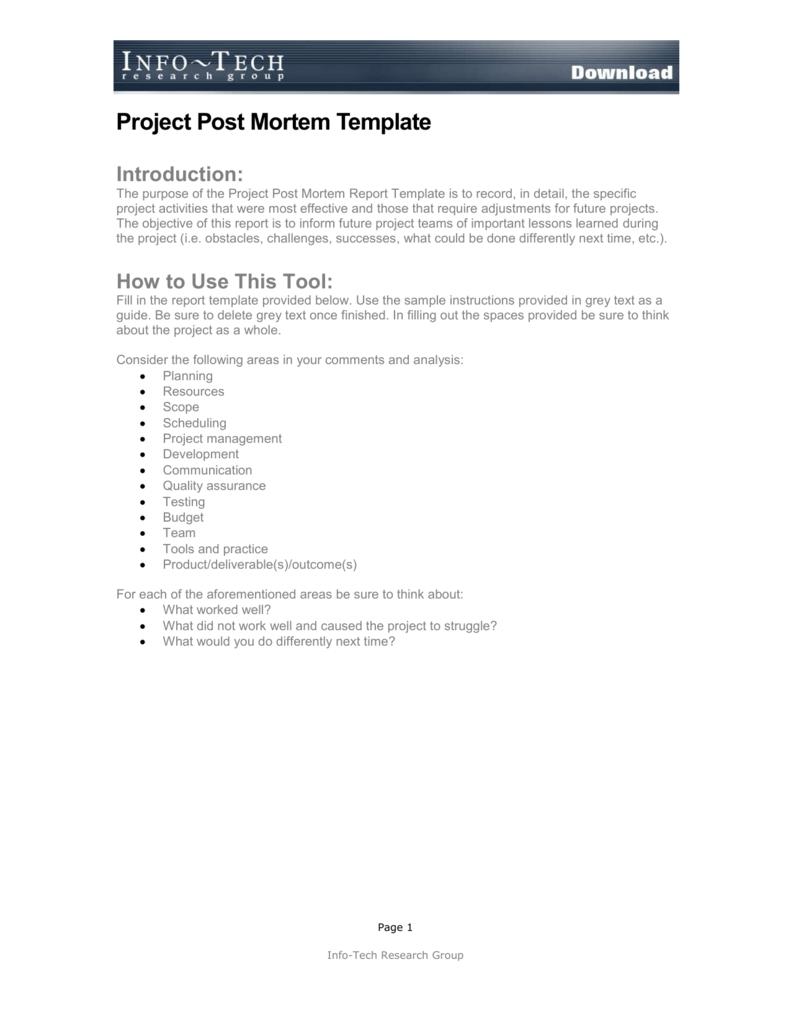 Project Post Mortem Template Regarding Post Mortem Template Powerpoint