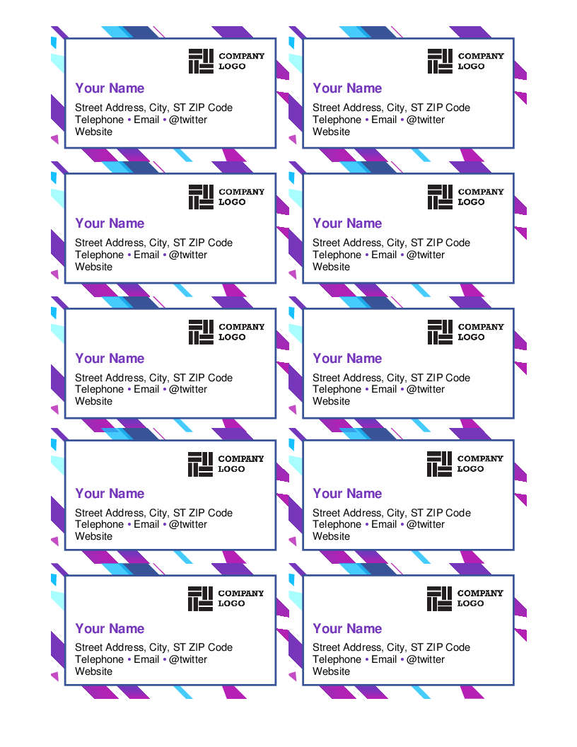 Purple Graphic Business Cards Throughout Ms Word Business Card Template