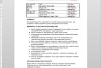 Quality Manager Job Description in Job Descriptions Template Word