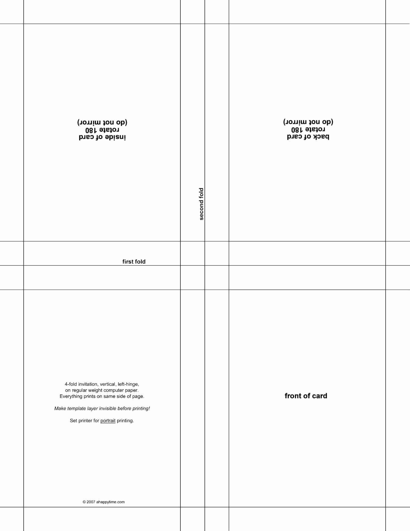Quarter Fold Card Template Word Inside Half Fold Greeting Card Template Word