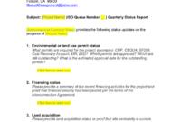 Queue Management Quarterly Status Report Template regarding Project Implementation Report Template