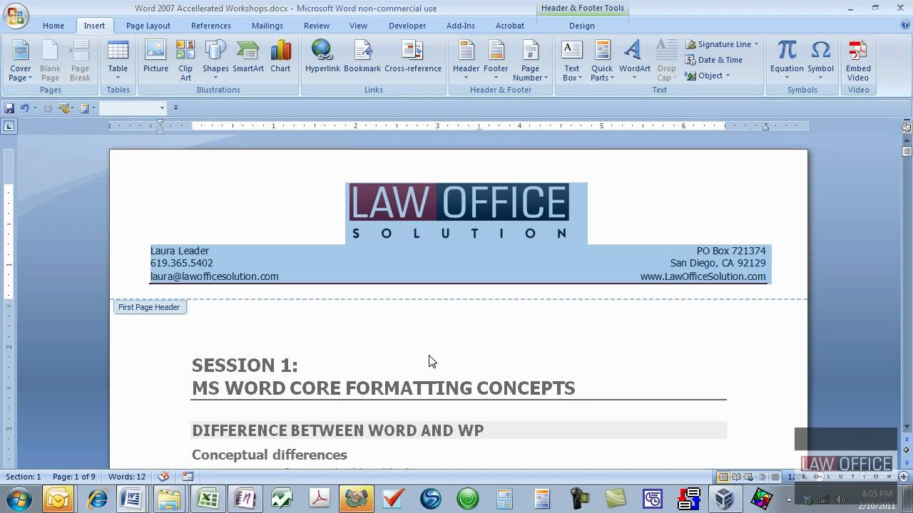 Quickpart Letterhead.mov Inside How To Create A Letterhead Template In Word