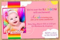 Rainbow First Birthday Invitation Via Etsy.   Photo Birthday with First Birthday Invitation Card Template