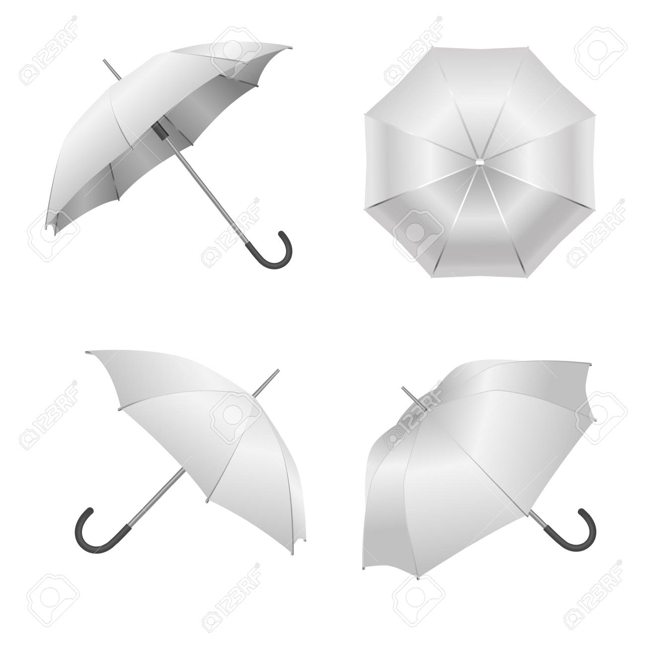 Realistic Detailed 3D White Blank Umbrella Template Mockup Set.. With Blank Umbrella Template