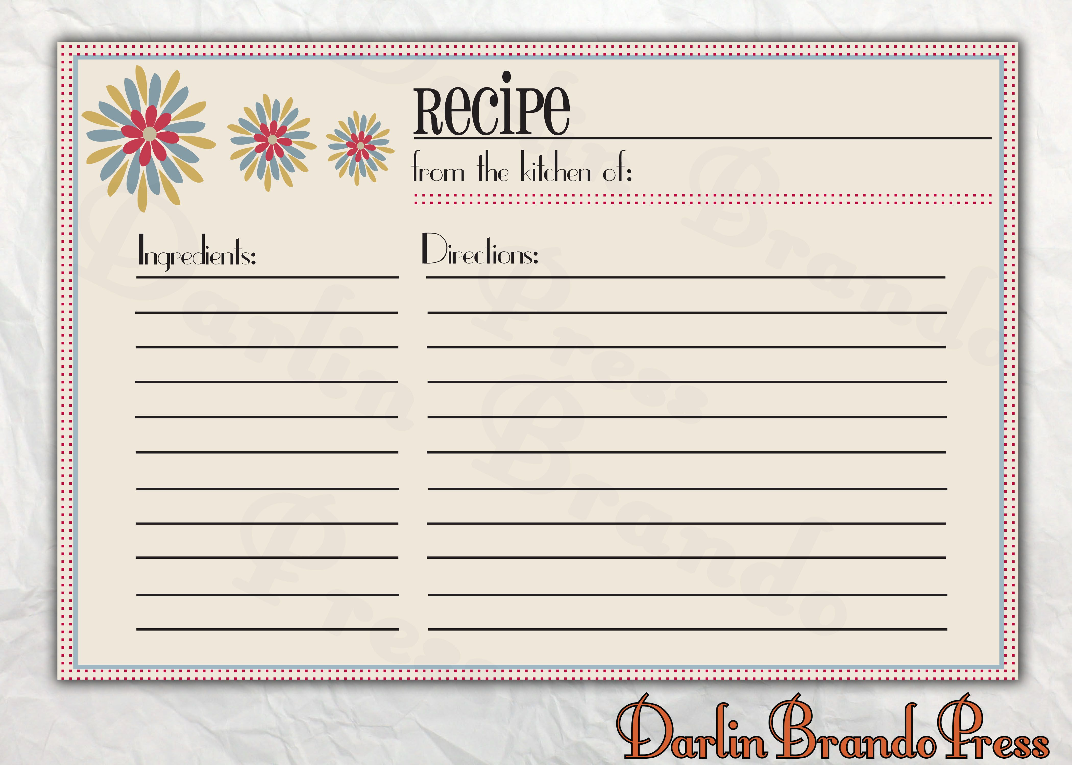 Recipes Card Templates Word   Cooking/baking   Printable For Free Recipe Card Templates For Microsoft Word