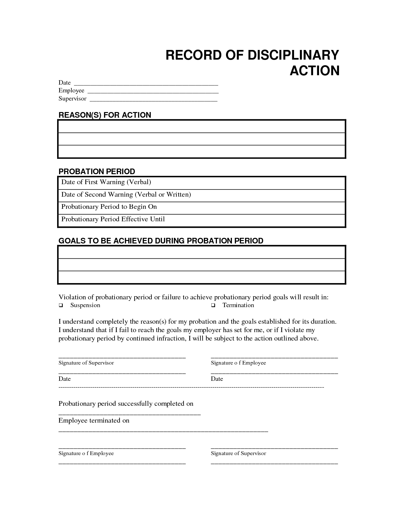 Record Disciplinary Action Free Office Form Template Regarding Word Employee Suggestion Form Template