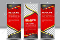 Red Roll Up Banner Template Illustration,polygon Background,banner.. pertaining to Pop Up Banner Design Template