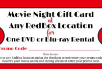 Redbox Movie Gift Tag – Printable File – You Print | Daisy within Movie Gift Certificate Template