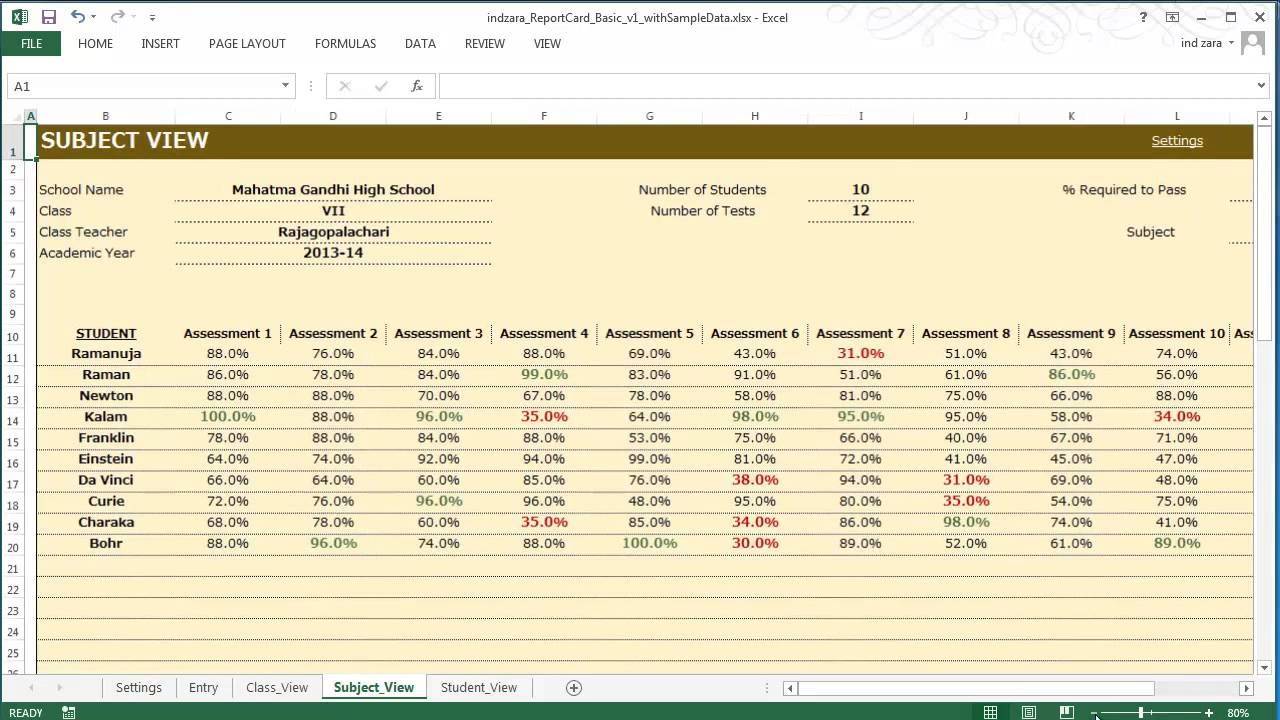 Report Card (Basic) - Excel Template For Result Card Template