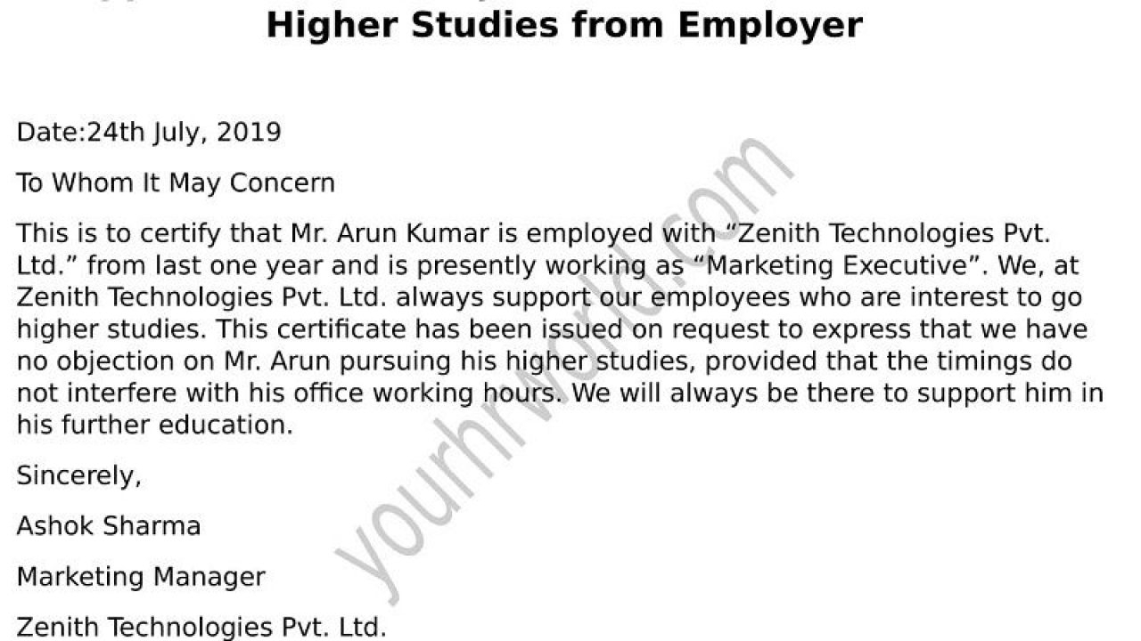 Request Latter Of Noc Format For Higher Studies From Employer Pertaining To Noc Report Template