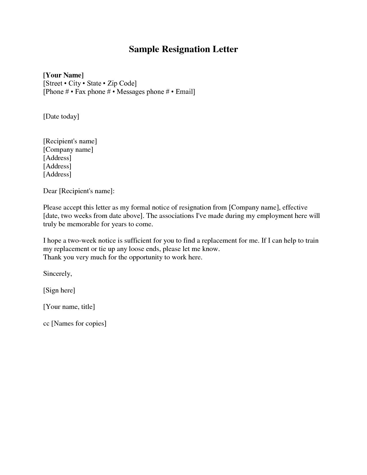 Resignation Letter 2 Weeks Notice Resignation Letter Throughout Two Week Notice Template Word