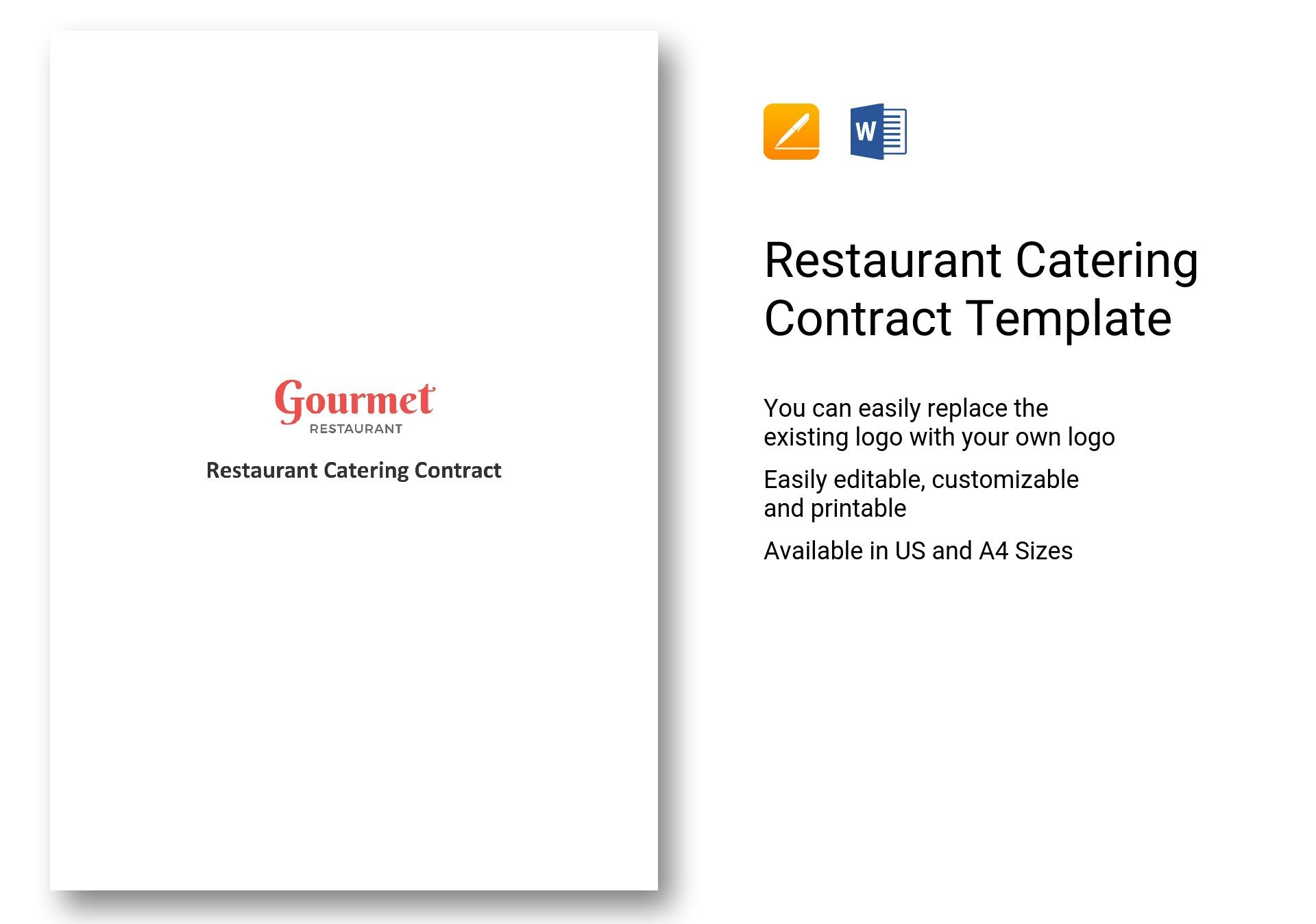 Restaurant Catering Contract Template In Word, Apple Pages Regarding Catering Contract Template Word