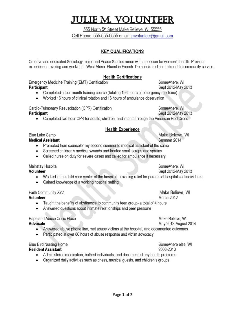 Resume Sample: Volunteer Resume Template New Sample Student Throughout Community Service Template Word