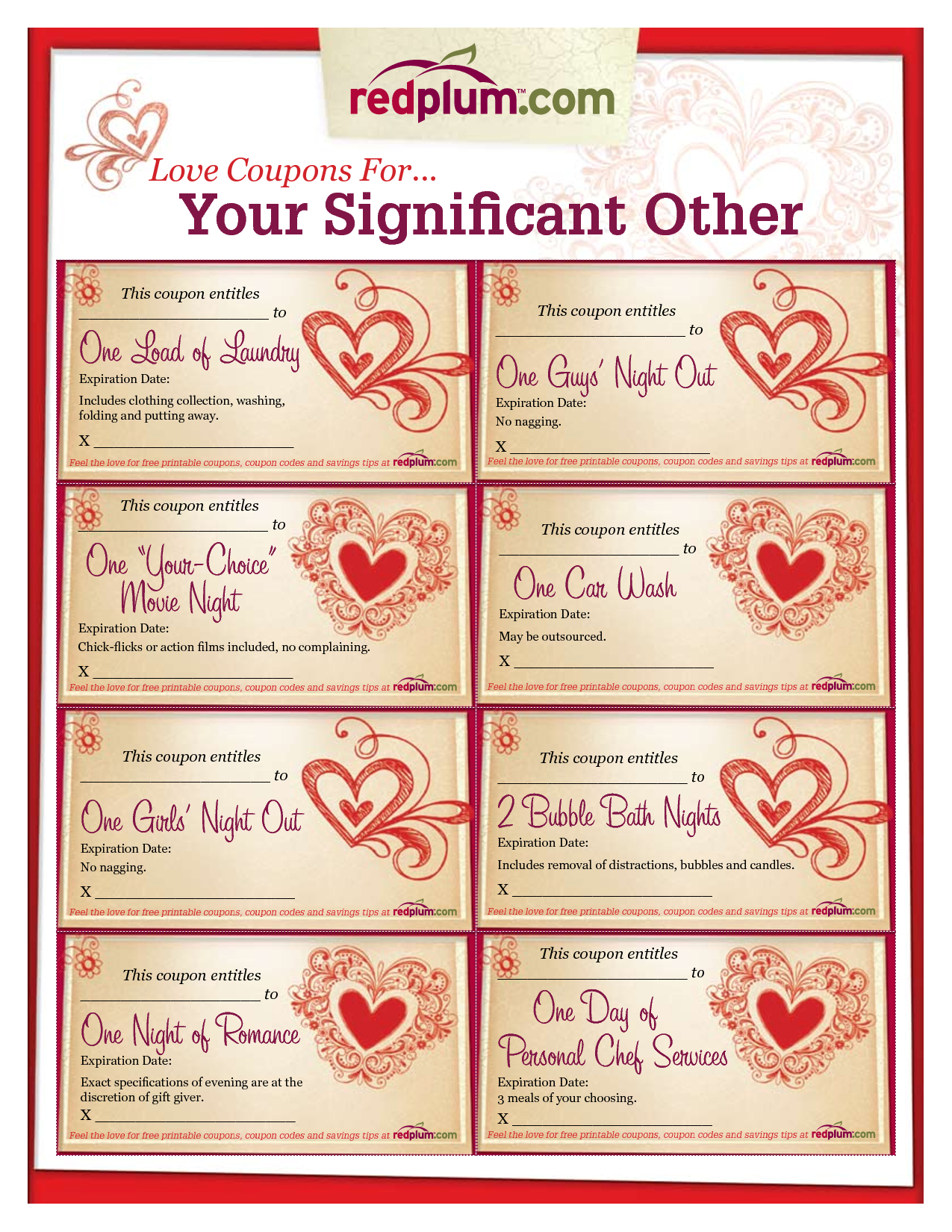 Romantic Love Coupon Template Printable | Love Coupons For Intended For Love Coupon Template For Word