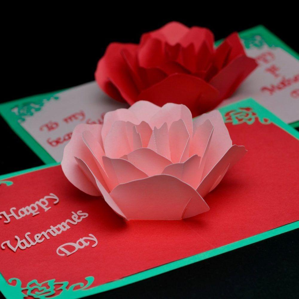 Rose Flower Pop Up Card Template   Paper/fabric Flowers Regarding Diy Pop Up Cards Templates