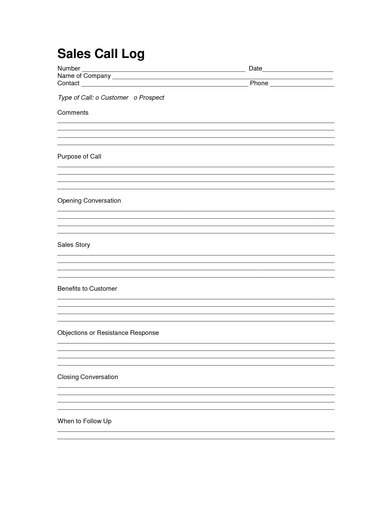 Sales Log Sheet Template | Sales Call Log Template | Call With Sales Call Report Template Free