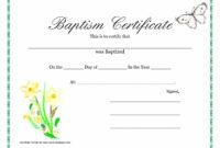 Sample Baptism Certificate Templates | Sample Certificate within Baptism Certificate Template Download