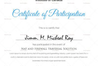Sample Certificate Of Participation Template within Certificate Of Participation Word Template
