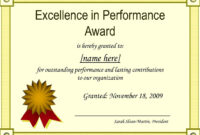 Sample Certificate Of Recognition For Outstanding Students with Best Performance Certificate Template