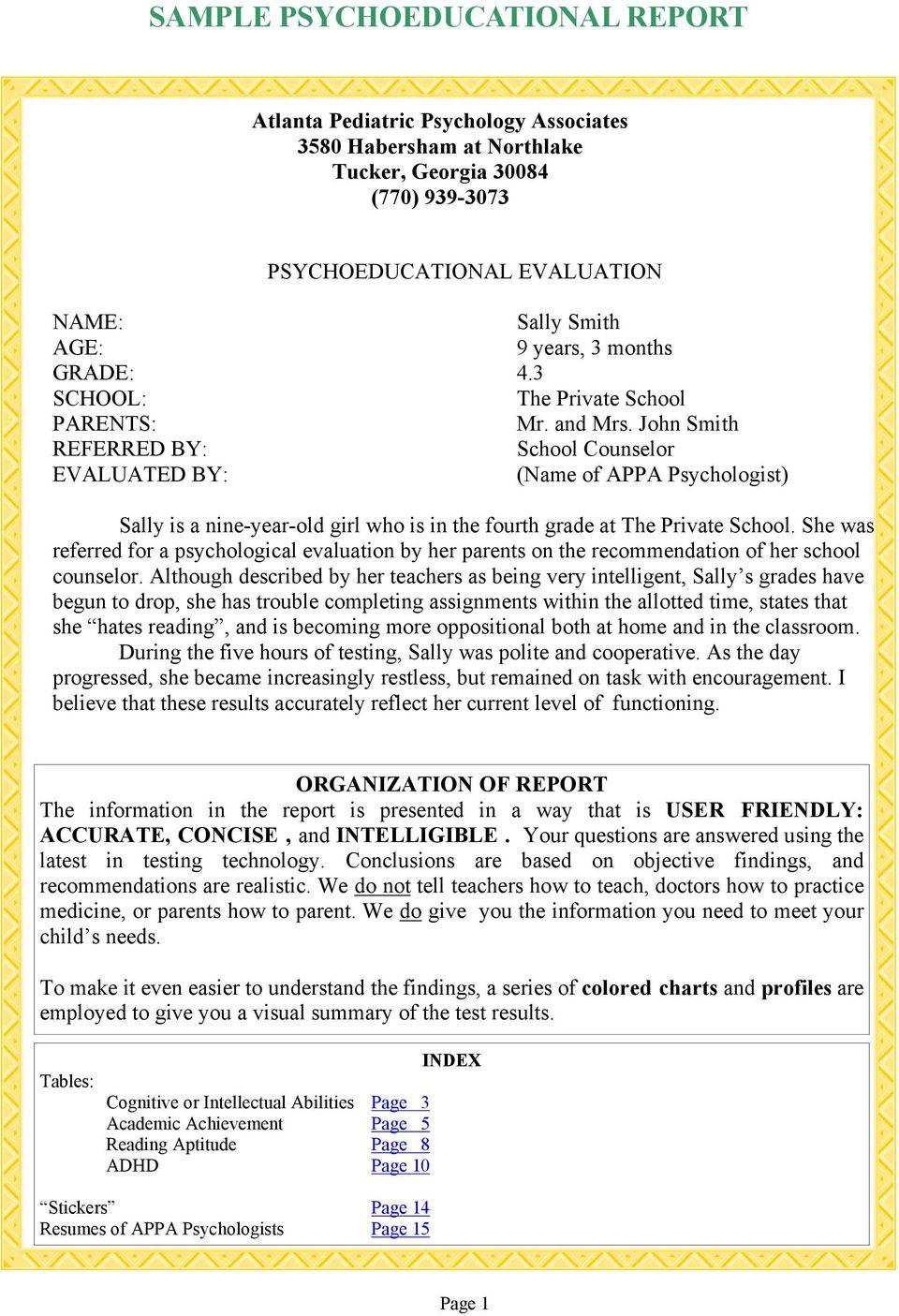 Sample Psychoeducational Report - Pdf Regarding Psychoeducational Report Template