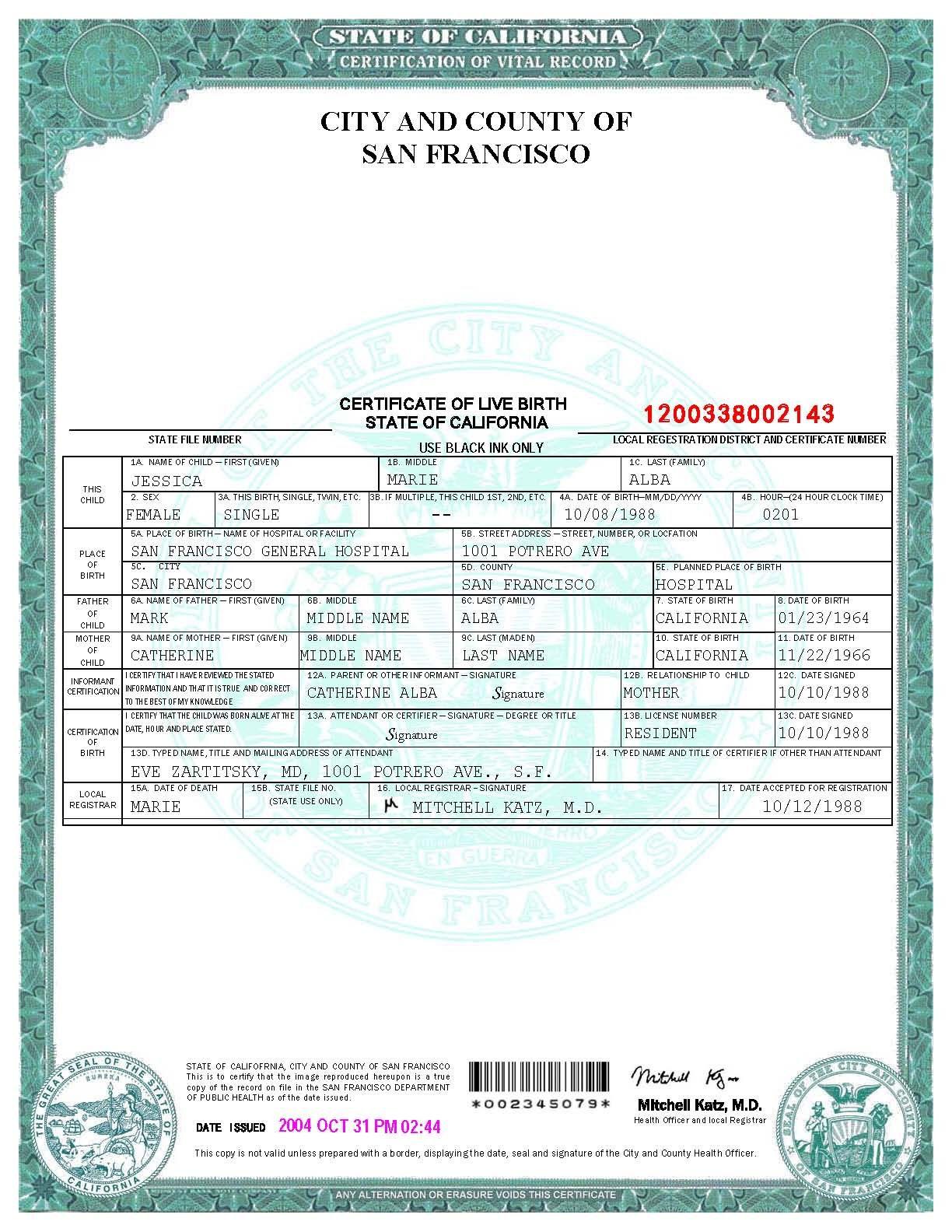 San Francisco Birth Certificate Template   Birth Certificate Inside Birth Certificate Fake Template