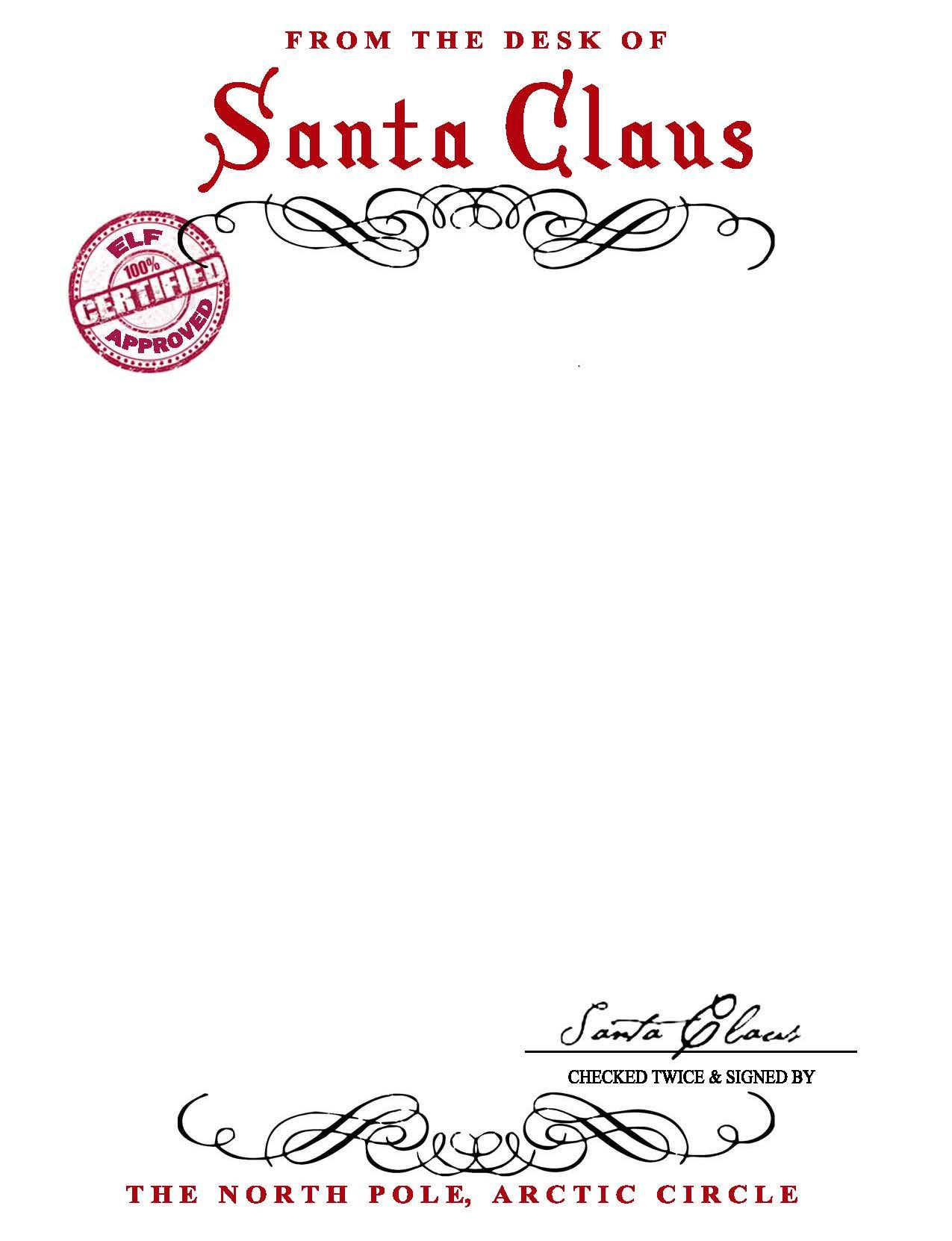 Santa Claus Letterhead.. Will Bring Lots Of Joy To Children With Blank Letter From Santa Template