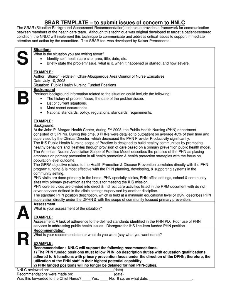 Sbar Template - Fill Online, Printable, Fillable, Blank Intended For Sbar Template Word