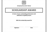 Scholarship Award Certificate Template | Scholarship Intended For Scholarship Certificate Template