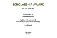 Scholarship Award Certificate Template | Templates At With Scholarship Certificate Template