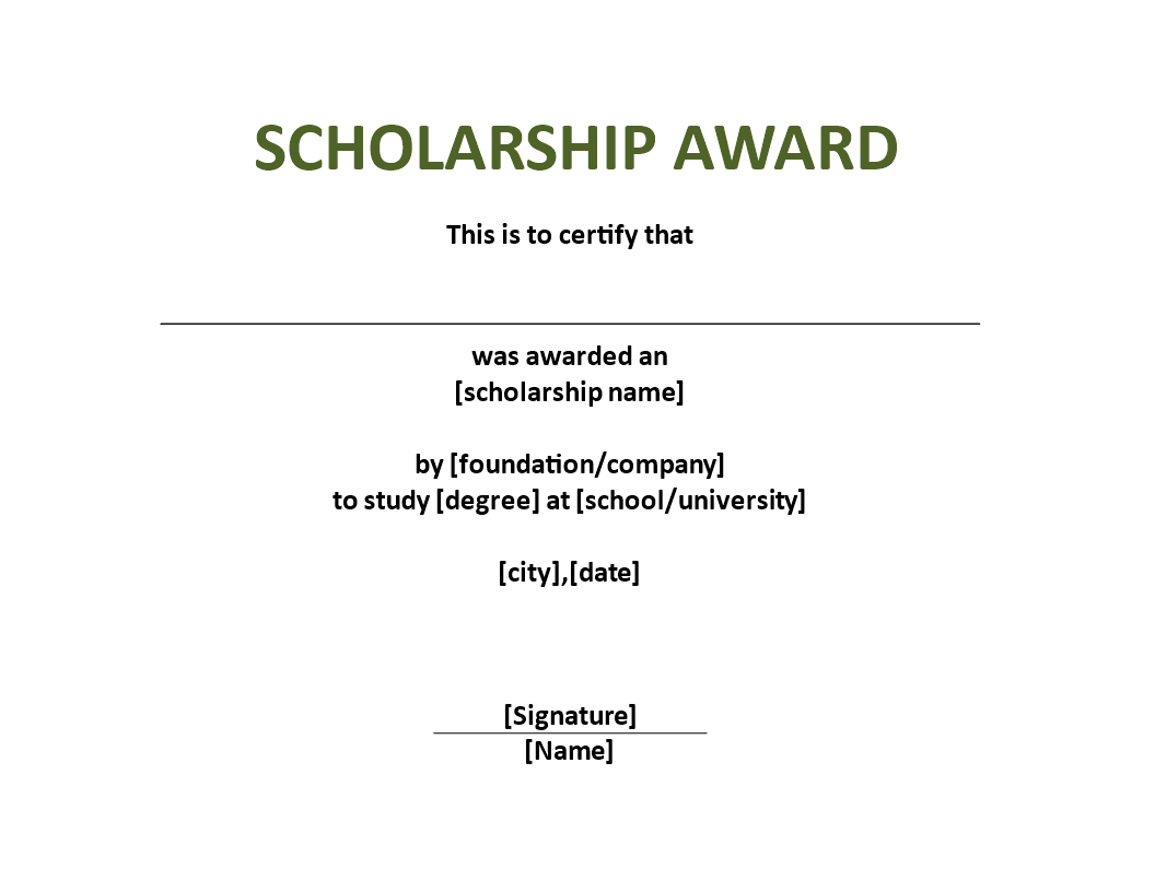 Scholarship Award Certificate Template | Templates At With Scholarship Certificate Template