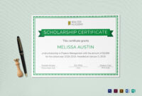 Scholarship Certificate Template throughout Scholarship Certificate Template Word
